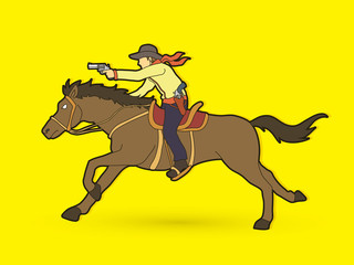 Cowboy riding horse,aiming gun graphic vector