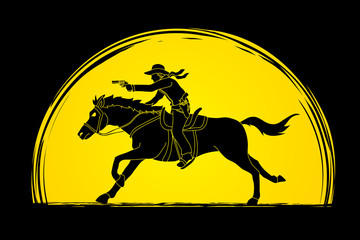 Cowboy riding horse,aiming gun on sunlight background graphic vector