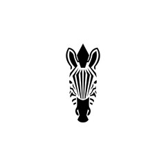 Zebra head logo negative space style illustration. Front view silhouette african zebra portrait striped black and white skin typography design element.