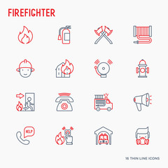 Firefighter thin line icons set: fire, extinguisher, axes, hose, hydrant. Modern vector illustration.