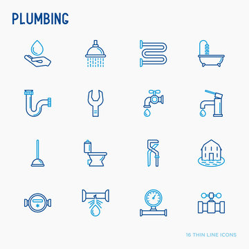 Plumbing thin line icons set of bathtub, shower, pipe, wrench, drop, leakage, meter, plunger. Modern vector illustration.