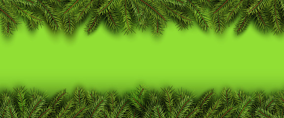 Christmas background green fir tree branches on green