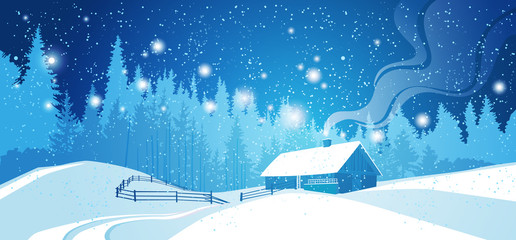 Winter Night Landscape Countryside Snowy House With Pine Tree Forest Over Blue Sky With Stars Vector Illustration