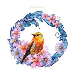 colorful floral vignette with lovely bird. watercolor painting