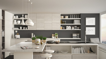 Modern wooden kitchen with wooden details, close up, island and gas stove with cooking pan, white and gray minimalistic interior design