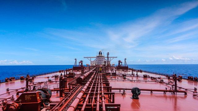An oil tanker sailing in Indian Ocean