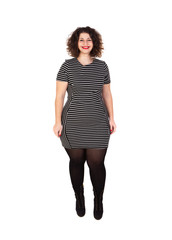 Beautiful curvy girl with striped dress and red lips