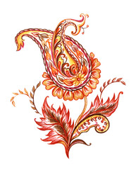 Paisley pattern, watercolor painting on white background, isolated with clipping path.