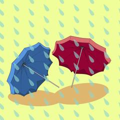 Two umbrella in the rain.