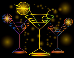 Three bright glasses of cocktail on a black background with stars and lights, disco, club, neon glow