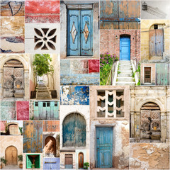 Archaic colorful beautiful gates / collage of entry doors :)