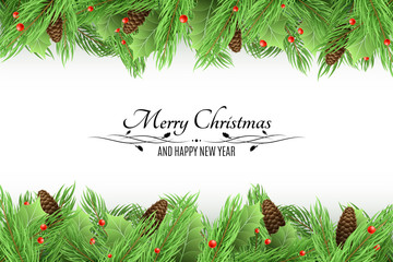 Christmas background. Bouquet of fresh fir trees and snow berries on a white background. Black text with decorations. Long bumps. Happy New Year. Vector