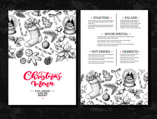 Christmas menu. Chalkboard restaurant and cafe template. Vector hand drawn illustration with holly, mistletoe, poinsettia, pine cone, cotton, fir tree.