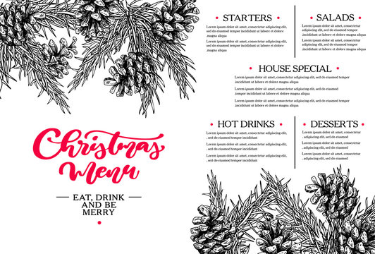 Christmas menu. Restaurant and cafe template. Vector hand drawn illustration with fir tree, evergreen