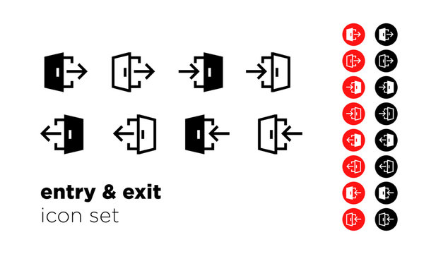 Entry and Exit Icon Set