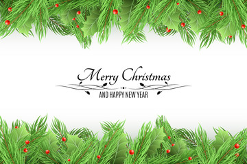 Christmas background. Bouquet of fresh fir trees and snow berries on a white background. Black text with decorations. Happy New Year. Vector