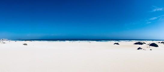 Deurstickers Canarische Eilanden tres playas in Corralejo, Fuerteventura, canary islands, Spain