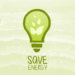 save energy and bulb symbol with leaf signs over green grunge background
