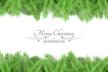 Bouquet of a Christmas fresh tree on a white background. Celebratory background, banner. Text with decorations. Happy New Year. Vector