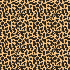 Leopard texture pattern. Orange and beige seamless background. Vector illustration