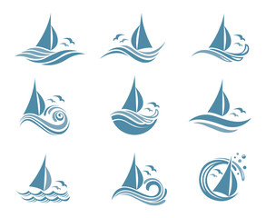 icons collection of sailing yachts and ocean waves with seagulls