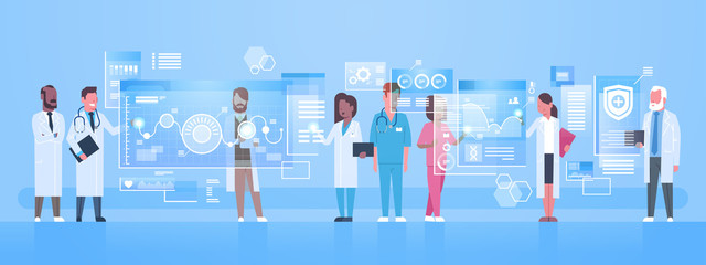 Diverse Doctors Group Use Virtual Computer Screen With Digital Buttons Innovation Technology Concept Modern Medical Treatment Flat Vector Illustration Fototapete