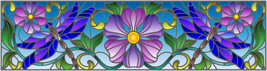 Illustration in stained glass style with bright dragonflyes , floral ornament and purple flowers on a sky background