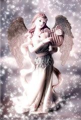 Wall Mural - Christmas angel archangel with snowflakes in ild style coloring