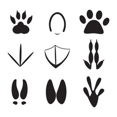 set of animal footprint