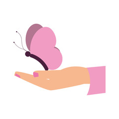 Hand with butterfly icon vector illustration graphic design