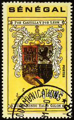 Columbus's personal coat of arms on postage stamp