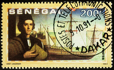 "Christopher Columbus and ship ""Pinta"" on postage stamp"