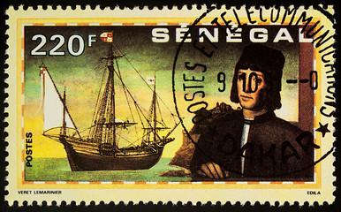 """Christopher Columbus and ship """"Nina"""" on postage stamp"""