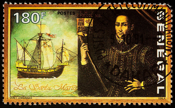 "Christopher Columbus and his ship ""Santa Maria"" on postage stamp"