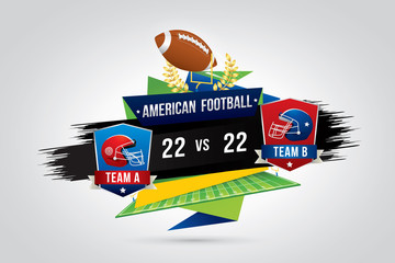 Vector of American football  with team competition and scoreboard.