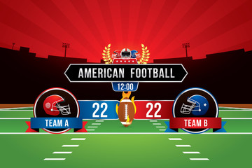 Vector of American football  with team competition and scoreboard on green field background.