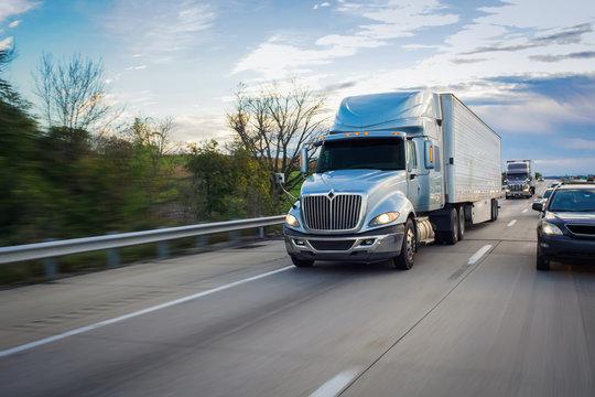Semi 18-wheeler truck on highway