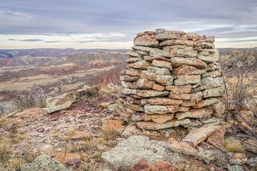 stone cairn in Red Mountain Open Space