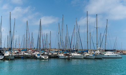 moored sailing ships at the pier