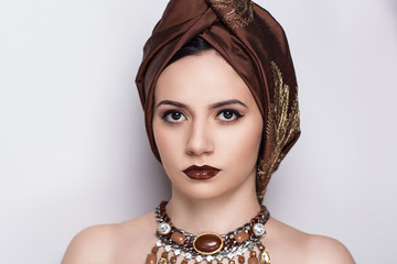 turban on woman head