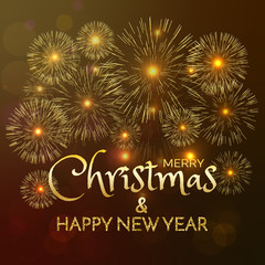 Words Merry Christmas and Happy New Year. Vector illustration of happy new year and Christmas. gold fireworks on dark background