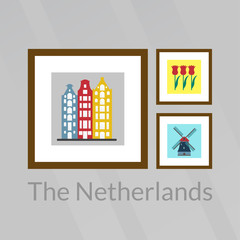 The Netherlands, Holland and Amsterdam pictures: old buildings, tulips and windmill. Vector illustration.