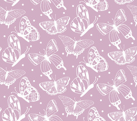 Seamless pattern with white hand drawn butterflies.