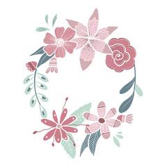 Vector hand drawn floral wreath