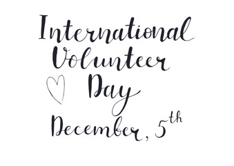 Volunteer International Day Lettering.