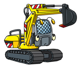 Funny small excavator with eyes