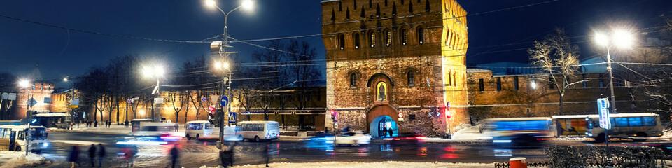 Illuminated Kremlin wall and main gate in Nizhny Novgorod
