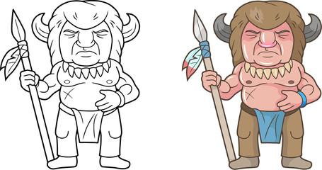 cartoon Indian warrior, funny image