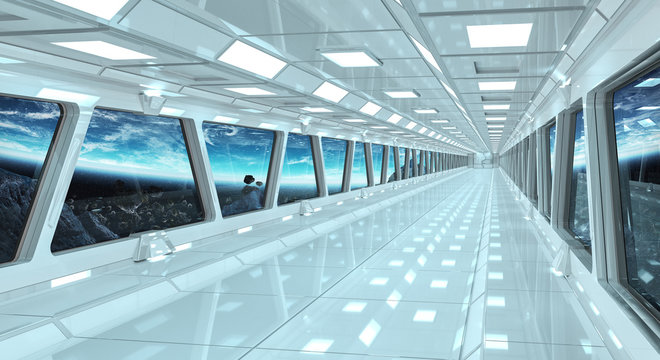 Spaceship corridor with view on the planet Earth 3D rendering elements of this image furnished by NASA