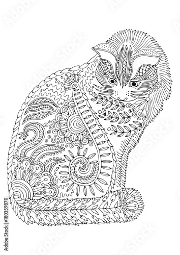 Hand drawn cat. Sketch for anti-stress adult coloring book ...